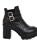 Недорогие -Жен. Fashion Boots Полиуретан Весна Ботинки На толстом каблуке Закрытый мыс Ботинки Белый / Черный