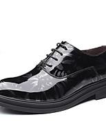 Недорогие -Муж. Комфортная обувь Полиуретан Осень Английский Туфли на шнуровке Доказательство износа Черный / Синий
