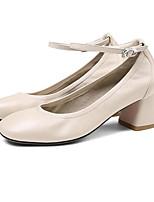 Недорогие -Жен. Комфортная обувь Наппа Leather Осень Обувь на каблуках На толстом каблуке Белый / Черный