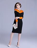 Недорогие -Жен. Классический Оболочка Платье - Контрастных цветов, Пэчворк Средней длины