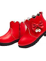 Недорогие -Девочки Обувь Полиуретан Зима / Наступила зима Модная обувь Ботинки Для прогулок Бант / Искусственный жемчуг для Дети / Для подростков Черный / Красный / Сапоги до середины икры