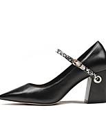 Недорогие -Жен. Балетки Наппа Leather Весна / Осень Обувь на каблуках На толстом каблуке Черный / Коричневый