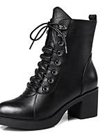 Недорогие -Жен. Fashion Boots Наппа Leather Осень Ботинки Блочная пятка Закрытый мыс Ботинки Черный