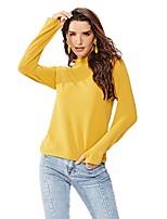 Недорогие -женская хлопчатобумажная футболка - сплошная цветная водолазка