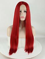 Недорогие -Синтетические кружевные передние парики Жен. Матовое стекло / Шелковисто-прямые Красный Средняя часть 180% Человека Плотность волос Искусственные волосы 16-26 дюймовый / Лента спереди / Лента спереди