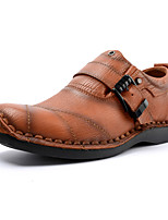 Недорогие -Муж. Кожаные ботинки Наппа Leather Осень Винтаж / На каждый день Мокасины и Свитер Массаж Черный / Коричневый