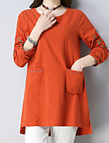 Недорогие -женская одежда тонкая футболка - цветочная шея