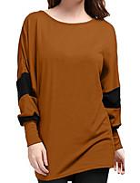 abordables -t-shirt femme grande taille - bloc de couleur col rond