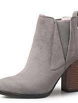 Недорогие -Жен. Fashion Boots Замша Лето Ботинки На толстом каблуке Закрытый мыс Ботинки Черный / Серый / Коричневый