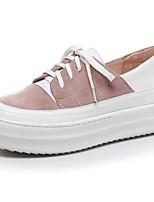 Недорогие -Жен. Комфортная обувь Наппа Leather Весна Кеды На плоской подошве Закрытый мыс Черный / Розовый