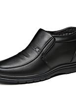 baratos -Homens Sapatos Confortáveis Couro Ecológico Inverno Casual Oxfords Manter Quente Preto