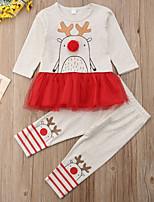 Недорогие -малыш Девочки С принтом / Контрастных цветов Длинный рукав Набор одежды