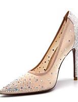 baratos -Mulheres Sapatos Confortáveis Com Transparência Verão Saltos Salto Agulha Prateado