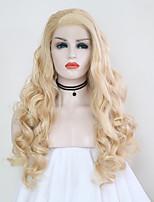 billiga -Syntetiska snörning framifrån Kroppsvågor Blond Sidodel Syntetiskt hår 24 tum Justerbar / Värmetåligt / Party Blond Peruk Dam Lång Spetsfront Blekt Blont / Ja
