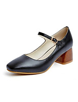 Недорогие -Жен. Балетки Наппа Leather Весна Обувь на каблуках На толстом каблуке Черный / Винный / Миндальный