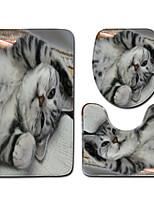 Недорогие -3 предмета Modern Коврики для ванны 100 г / м2 полиэфирный стреч-трикотаж Животное Прямоугольная Ванная комната Cool