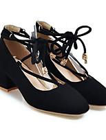 Недорогие -Жен. Комфортная обувь Полиуретан Весна Обувь на каблуках На толстом каблуке Черный / Бежевый / Миндальный