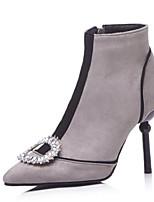 Недорогие -Жен. Fashion Boots Замша Осень Ботинки На шпильке Закрытый мыс Ботинки Серый / Коричневый