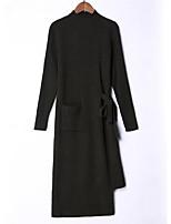 Недорогие -женский выход тонкий свитер платье midi шея экипажа