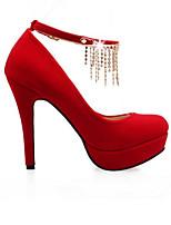 Недорогие -Жен. Балетки Полиуретан Осень Обувь на каблуках На шпильке Черный / Красный