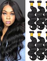 Недорогие -6 Связок Перуанские волосы Естественные кудри 8A Натуральные волосы Человека ткет Волосы Удлинитель Пучок волос 8-28 дюймовый Нейтральный Естественный цвет Ткет человеческих волос Машинное плетение