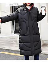 Недорогие -Жен. Повседневные Классический Однотонный Обычная Пуховик, Полиэфир Длинный рукав Рубашечный воротник Черный / Бежевый M / L / XL