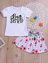 Недорогие -Дети (1-4 лет) Девочки Цветочный принт / С принтом С короткими рукавами Набор одежды