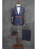 billiga -Mönstrad Skräddarsydd passform Bomull / Polyester Kostym - Smalt trubbig Singelknäppt 1 Knapp
