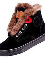 Недорогие -Жен. Комфортная обувь Искусственный мех / Полиуретан Осень На каждый день Ботинки На плоской подошве Круглый носок Черный / Коричневый