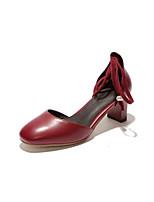 Недорогие -Жен. Комфортная обувь Полиуретан Весна Обувь на каблуках На толстом каблуке Черный / Красный / Розовый