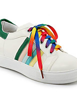 Недорогие -Жен. Комфортная обувь Полиуретан Весна Кеды На плоской подошве Закрытый мыс Черный / Красный / Зеленый