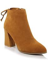 Недорогие -Жен. Fashion Boots Замша Зима Ботинки На толстом каблуке Закрытый мыс Ботинки Желтый / Винный / Светло-Розовый
