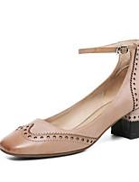 Недорогие -Жен. Комфортная обувь Наппа Leather Лето Обувь на каблуках На толстом каблуке Белый / Синий / Верблюжий