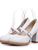 Недорогие -Жен. Балетки Полиуретан Весна Обувь на каблуках На толстом каблуке Черный / Синий / Розовый