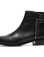 Недорогие -Жен. Fashion Boots Наппа Leather Осень Ботинки На низком каблуке Закрытый мыс Ботинки Черный