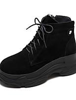 Недорогие -Жен. Армейские ботинки Замша Зима Ботинки На плоской подошве Круглый носок Ботинки Черный / Серый / Темно-коричневый