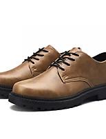 baratos -Homens Sapatos Confortáveis Couro Ecológico Outono Casual Oxfords Não escorregar Preto / Vinho / Khaki