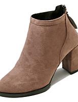 baratos -Mulheres Fashion Boots Couro Ecológico Inverno Casual Botas Salto Robusto Botas Cano Médio Preto / Khaki