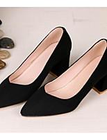 Недорогие -Жен. Комфортная обувь Замша Осень Обувь на каблуках На толстом каблуке Черный / Синий / Розовый