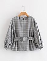 Недорогие -женская хлопчатобумажная свободная блузка - сплошная цветная шея