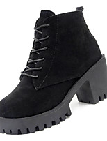 Недорогие -Жен. Fashion Boots Полиуретан Осень Минимализм Ботинки На толстом каблуке Круглый носок Ботинки Черный / Военно-зеленный