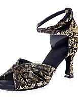 abordables -Femme Chaussures Latines Daim Sandale Boucle Talon Bobine Chaussures de danse Noir / Marron / Noir et Or