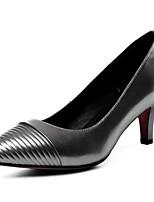 Недорогие -Жен. Комфортная обувь Наппа Leather Осень Обувь на каблуках На шпильке Черный / Серебряный