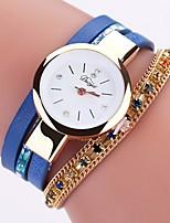 Недорогие -Жен. Наручные часы Кварцевый Новый дизайн Повседневные часы PU Группа Аналоговый Мода Элегантный стиль Черный / Белый / Синий - Синий Розовый Светло-синий Один год Срок службы батареи