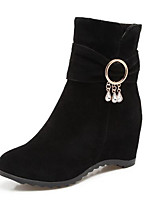 Недорогие -Жен. Fashion Boots Замша Осень Ботинки На плоской подошве Закрытый мыс Ботинки Бежевый / Серый / Вино