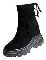Недорогие -Жен. Fashion Boots Полиуретан Зима На каждый день Ботинки На низком каблуке Сапоги до середины икры Черный / Красный
