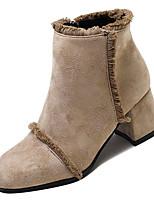 Недорогие -Жен. Fashion Boots Полиуретан Осень Минимализм Ботинки На толстом каблуке Сапоги до середины икры Черный / Хаки