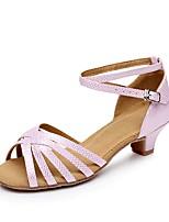 abordables -Femme Chaussures Latines Polyuréthane Talon Talon épais Personnalisables Chaussures de danse Argent / Rose / Bleu marine