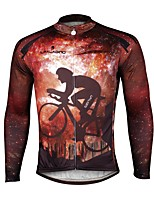 abordables -ILPALADINO Homme Manches Longues Maillot de Cyclisme - Orange Mode Cyclisme Hauts / Top Hiver, Elasthanne