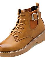 Недорогие -Жен. Fashion Boots Полиуретан Зима На каждый день Ботинки На низком каблуке Ботинки Черный / Коричневый